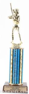 Blue Single Column Female Softball Trophy