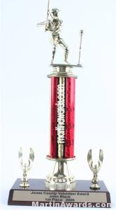 Red Single Column Male T-Ball With 2 Eagles Trophy