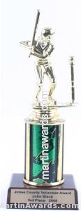 Green Single Column Female T-Ball Trophy 1