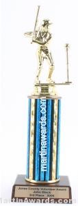 Blue Single Column Female T-Ball Trophy
