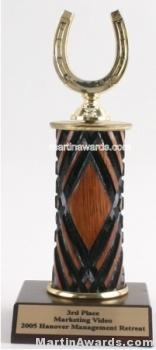 Wood Single Column Horseshoe Trophy 1