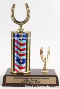 Red/White/Blue Single Column Horseshoe With 1 Eagle Trophy