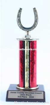 Red Single Column Horseshoe Trophy