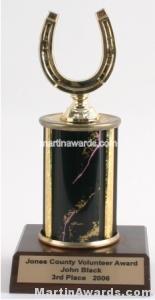 Black Single Column Horseshoe Trophy