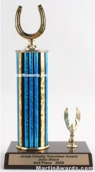 Blue Single Column Horseshoe With 1 Eagle Trophy