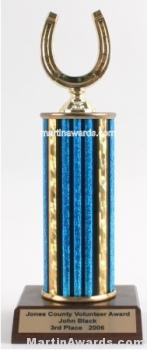 Blue Single Column Horseshoe Trophy 1