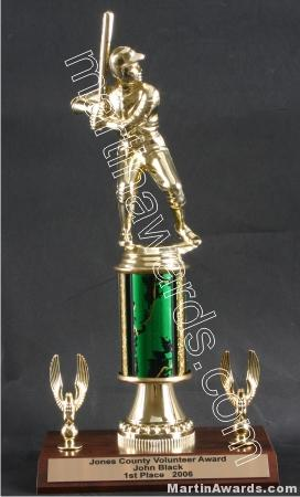 Green Single Column Male Baseball/Softball With 2 Eagles Trophy