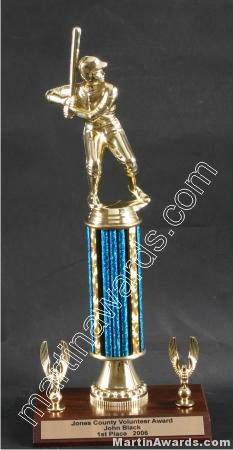 Blue Single Column Male Baseball/Softball With 2 Eagles Trophy 1