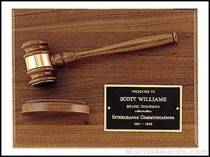 Wood Gavel On Walnut Plaque 1
