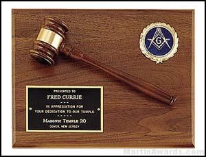 Plaque - Wood Gavel On Walnut Plaques with Activity Insert