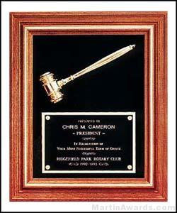 Plaque – Walnut Frame Gavel Plaques with Gold Tone Gavel and Velour Background 1