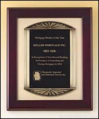 Plaque - Rosewood Stained Piano Finish Plaque w/Bronze Frame Casting and Black Brass Engraving Plate