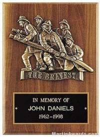 Plaque with Fireman Cast Figure