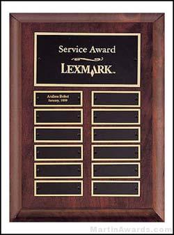 Plaque – Cherry Finish Perpetual Plaques with 12 Brass Plates 1