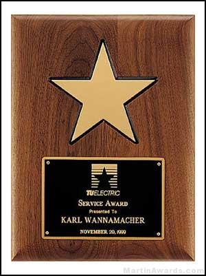 Plaque - American Walnut Plaque w/Star Casting