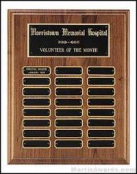 Plaque - American Walnut Perpetual Plaques with Black Brass Plates