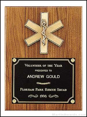 Plaque – Fireman Award Plaque Emergency Medical Award 1