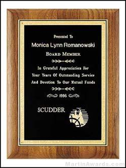 Plaque - Solid Walnut Plaque with Black Brass Plate