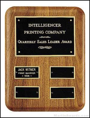 Plaque – American Walnut Perpetual Plaque for Quarterly Awards 1