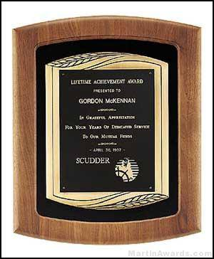 Plaque - American Walnut Plaque w/Bronze Finish Casting and Velour