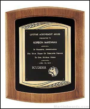 Plaque – American Walnut Plaque w/Bronze Finish Casting and Velour 1