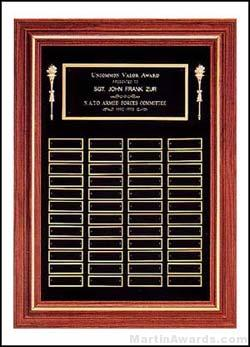 Plaque - Solid Walnut Frame Perpetual Plaque with Black Brass Plates