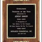 Plaque – Solid American Walnut Plaque with Gold Trims 1