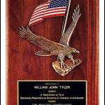 Plaque – Walnut Plaque with Large Eagle Casting and American Flag 1
