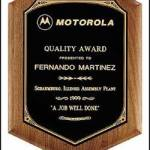 Plaque – Solid Walnut Plaque w/Original Design Black Brass Plate 1
