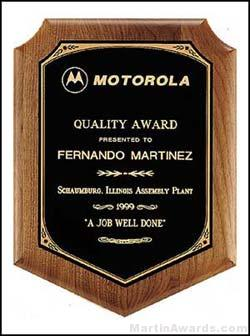 Plaque - Solid Walnut Plaque w/Original Design Black Brass Plate