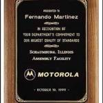 Plaque – Walnut Plaque w/Black Brass Plate with Gold Border 1