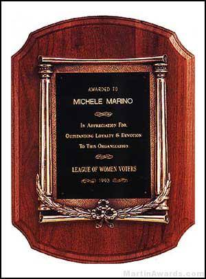 Plaque - American Walnut Plaque w/Antique Bronze Column and Leaf Castings