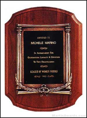 Plaque – American Walnut Plaque w/Antique Bronze Column and Leaf Castings 1