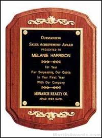 Plaque - Solid Walnut Coventry Plaques w/Gold Relief Trim
