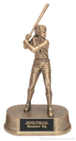 Female Softball Gold Resin Trophies