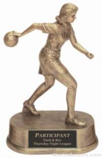 Female Bowling Gold Resin Trophy