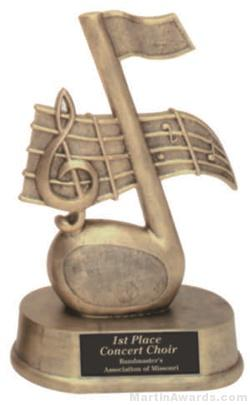 Music Note Gold Resin Trophies 1