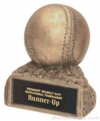 Baseball On Base Gold Resin Trophy