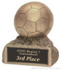 Soccer On Base Gold Resin Trophy