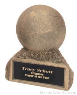 Basketball On Base Gold Resin Trophy 1