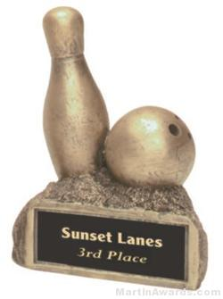 Bowling On Base Gold Resin Trophy 1
