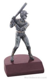 Male Baseball Silver Resin Trophy