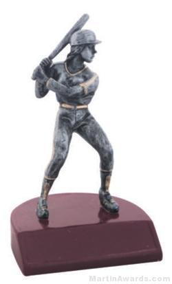 Female Baseball Silver Resin Trophy 1