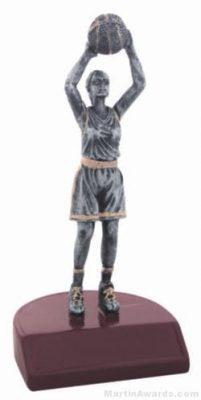 Female Basketball Silver Resin Trophy