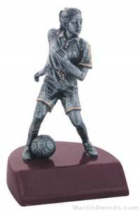 Female Soccer Silver Resin Trophy