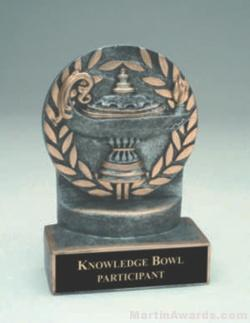 Lamp Of Knowledge Wreath Resin Trophies
