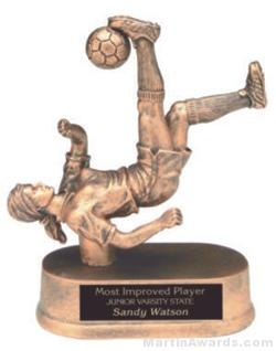 Female Bicycle Kick Soccer Gold Resin Trophy