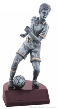 Male Soccer Silver Resin Trophy