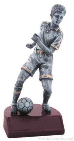 Male Soccer Silver Resin Trophy