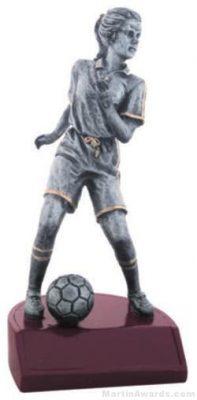 Female Soccer Silver Resin Trophy